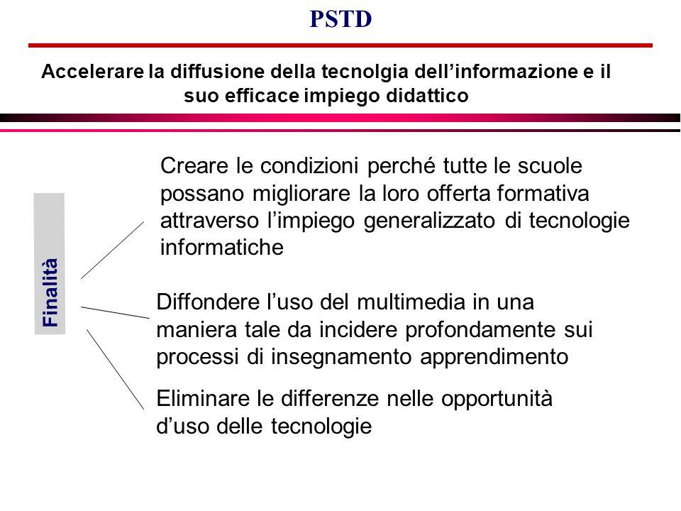 Accelerare la diffusione della tecnolgia dell'informazione e il suo efficace impiego didattico PSTD Eliminare le differenze nelle opportunità d'uso de