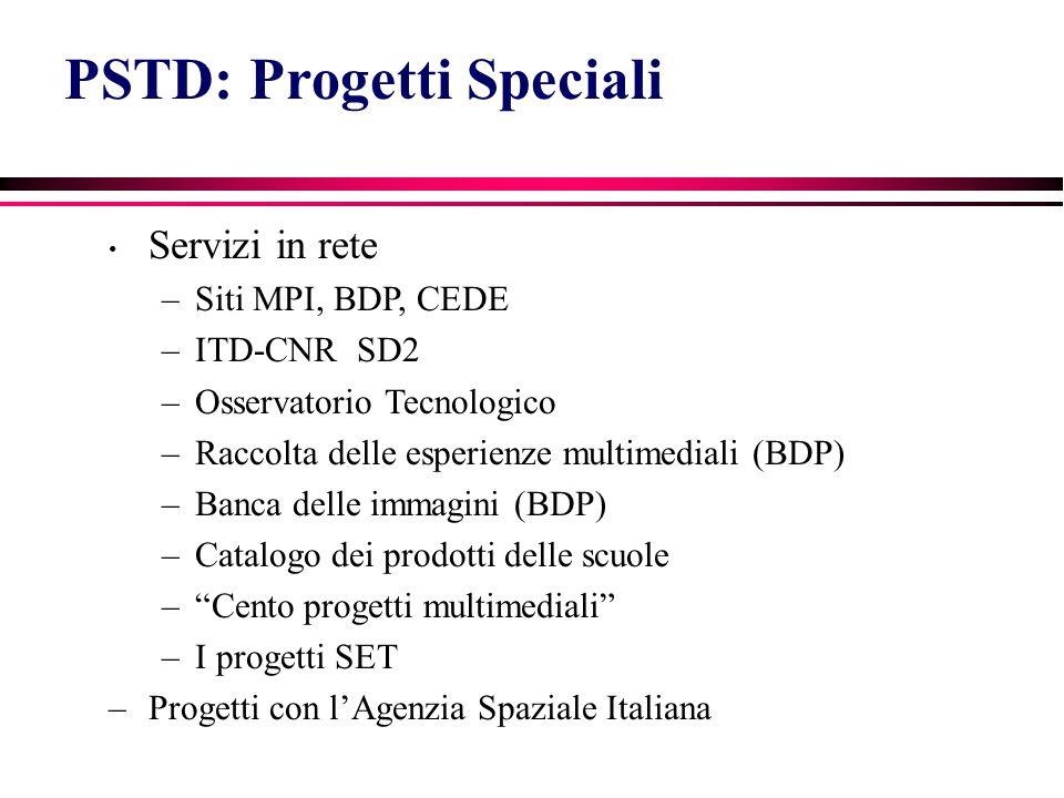 PSTD: Progetti Speciali Servizi in rete –Siti MPI, BDP, CEDE –ITD-CNR SD2 –Osservatorio Tecnologico –Raccolta delle esperienze multimediali (BDP) –Banca delle immagini (BDP) –Catalogo dei prodotti delle scuole – Cento progetti multimediali –I progetti SET –Progetti con l'Agenzia Spaziale Italiana