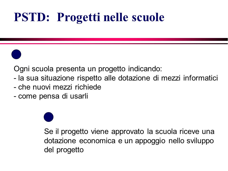 PSTD: Progetti nelle scuole Ogni scuola presenta un progetto indicando: - la sua situazione rispetto alle dotazione di mezzi informatici - che nuovi m