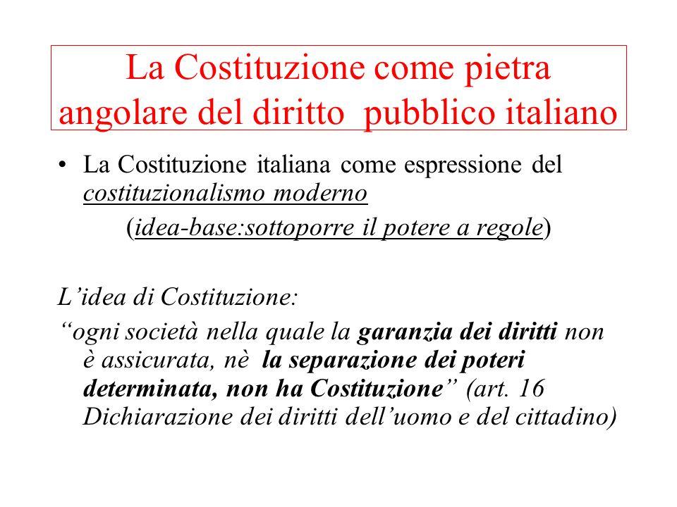 La Costituzione come pietra angolare del diritto pubblico italiano La Costituzione italiana come espressione del costituzionalismo moderno (idea-base:sottoporre il potere a regole) L'idea di Costituzione: ogni società nella quale la garanzia dei diritti non è assicurata, nè la separazione dei poteri determinata, non ha Costituzione (art.