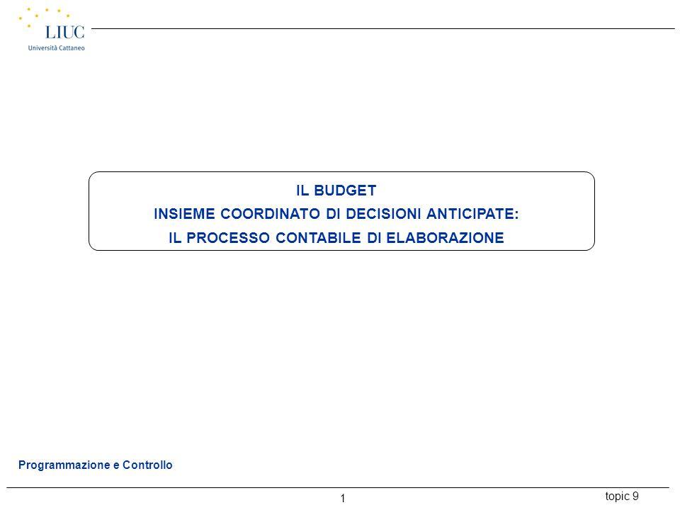 topic 9 1 Programmazione e Controllo IL BUDGET INSIEME COORDINATO DI DECISIONI ANTICIPATE: IL PROCESSO CONTABILE DI ELABORAZIONE