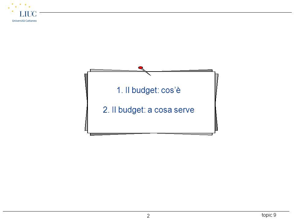 topic 9 2 1. Il budget: cos'è 2. Il budget: a cosa serve