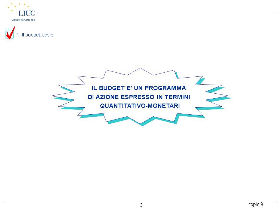 topic 9 3 IL BUDGET E' UN PROGRAMMA DI AZIONE ESPRESSO IN TERMINI QUANTITATIVO-MONETARI 1. Il budget: cos'è