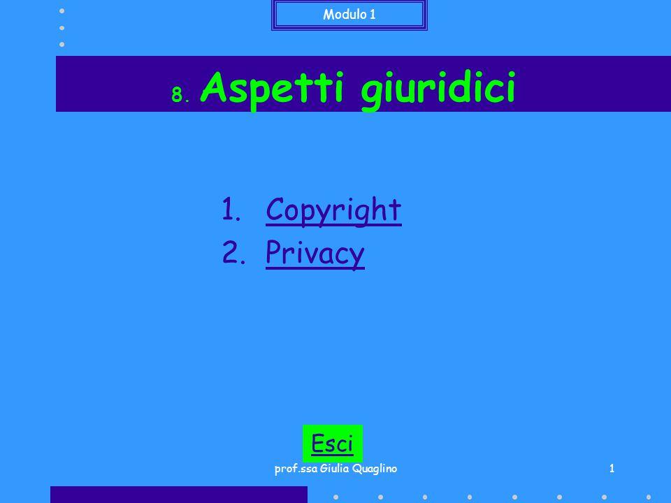 Modulo 1 prof.ssa Giulia Quaglino1 8. Aspetti giuridici 1.CopyrightCopyright 2.PrivacyPrivacy Esci