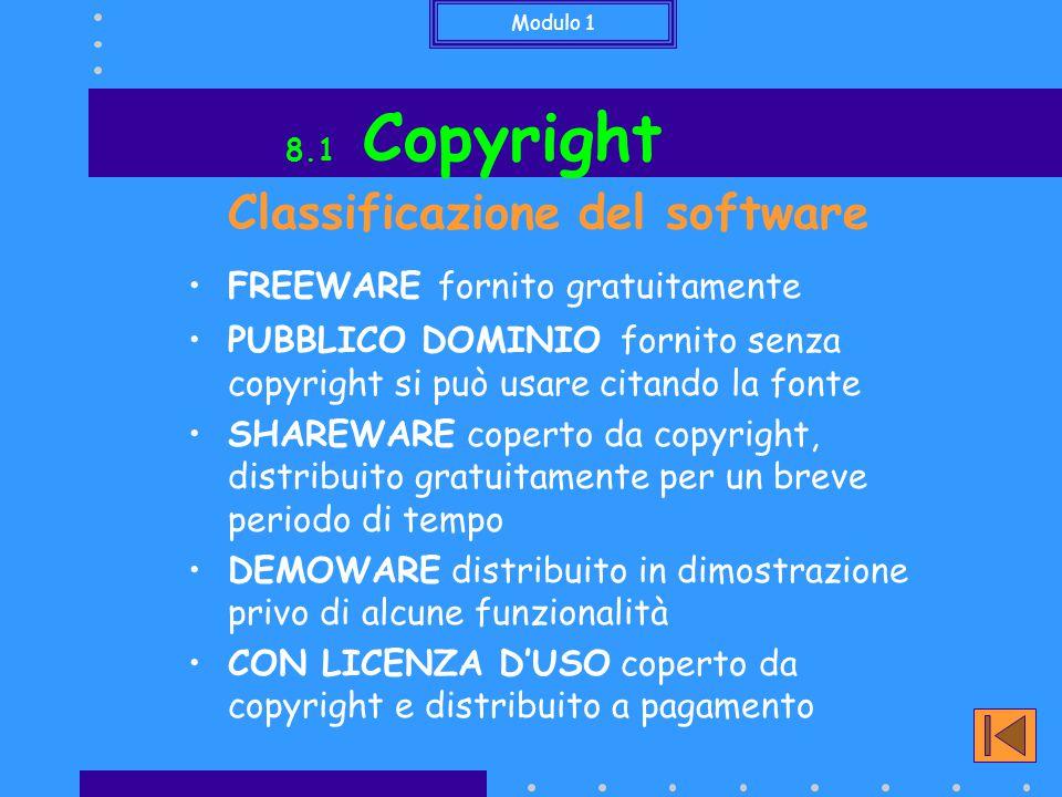 Modulo 1 8.2 Privacy È tutelata dalla legge n.