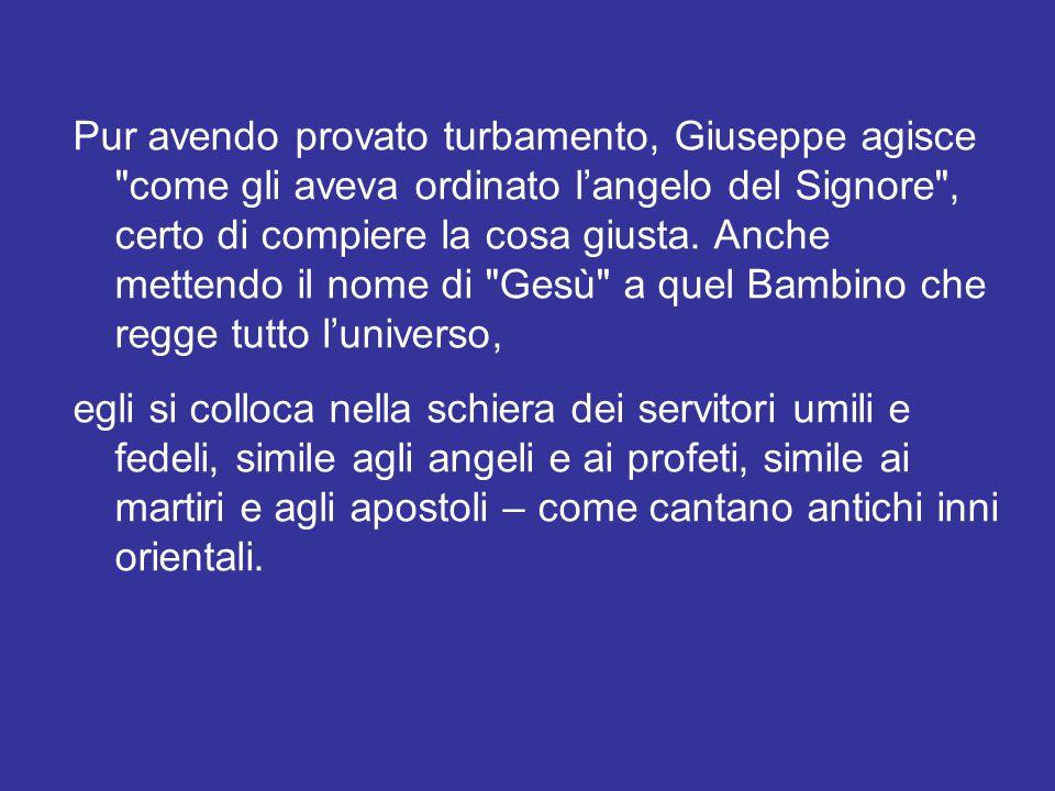 Sant'Ambrogio commenta che in Giuseppe ci fu l'amabilità e la figura del giusto, per rendere più degna la sua qualità di testimone (Exp.