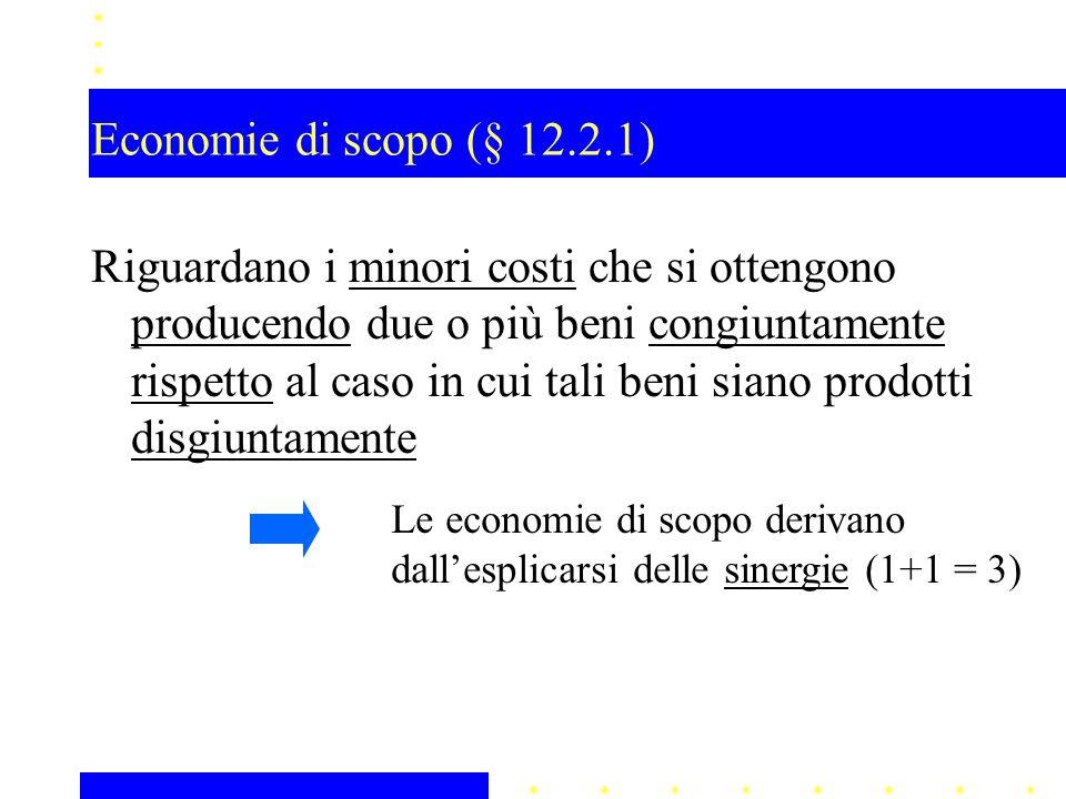 Economie di scopo (§ 12.2.1) Riguardano i minori costi che si ottengono producendo due o più beni congiuntamente rispetto al caso in cui tali beni sia