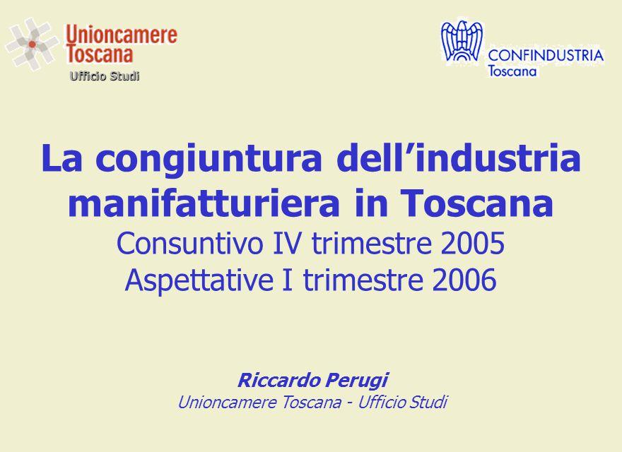 Ufficio Studi La congiuntura dell'industria manifatturiera in Toscana Consuntivo IV trimestre 2005 Aspettative I trimestre 2006 Riccardo Perugi Unioncamere Toscana - Ufficio Studi