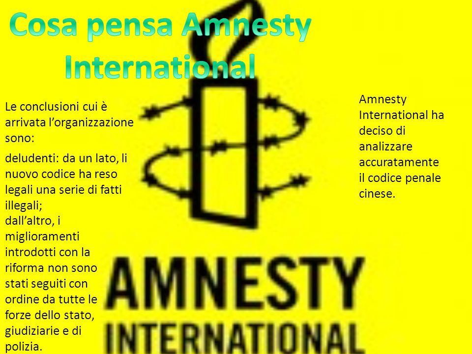 Amnesty International ha deciso di analizzare accuratamente il codice penale cinese.