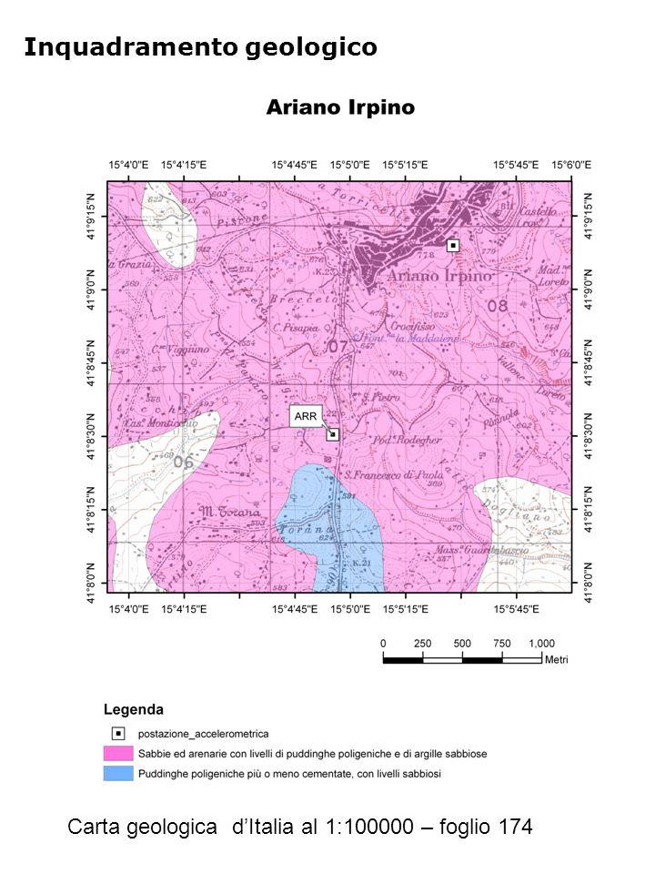 Inquadramento geologico Carta geologica d'Italia al 1:100000 – foglio 174