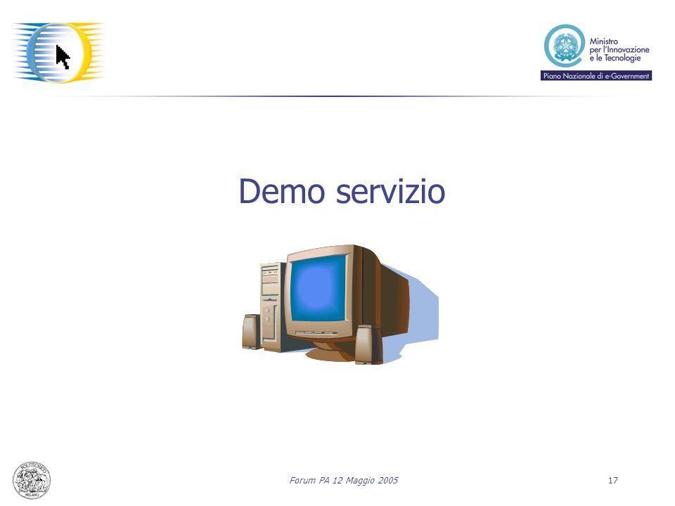 Forum PA 12 Maggio 200517 Demo servizio