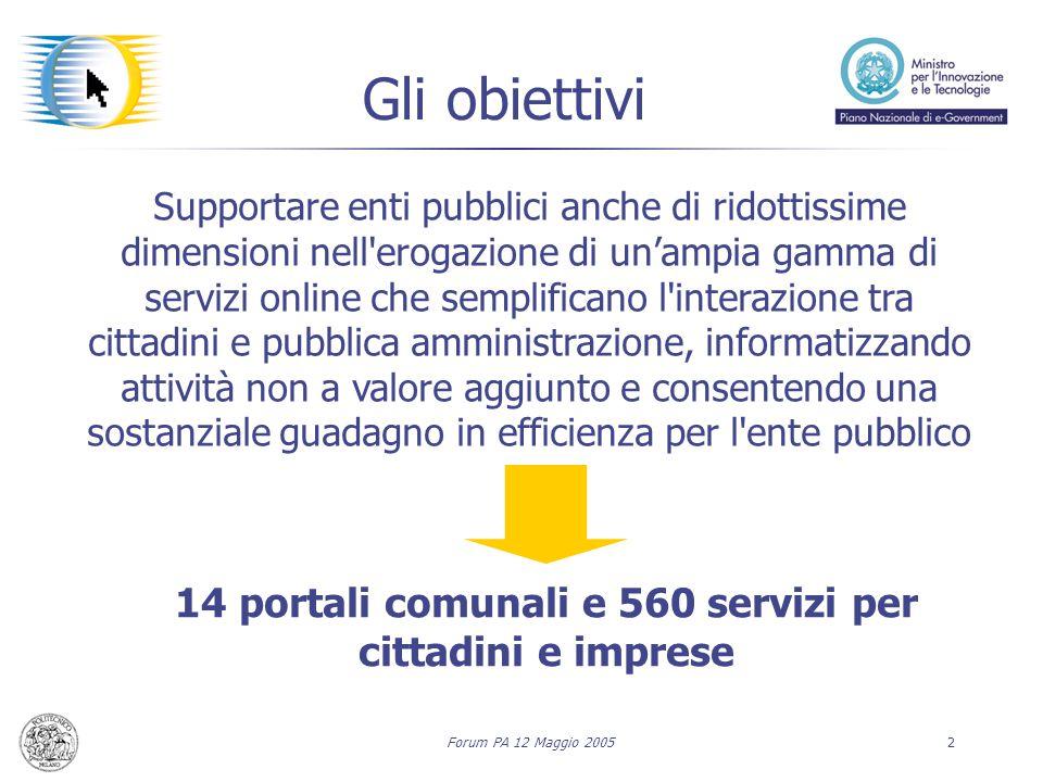 Forum PA 12 Maggio 20052 Supportare enti pubblici anche di ridottissime dimensioni nell'erogazione di un'ampia gamma di servizi online che semplifican
