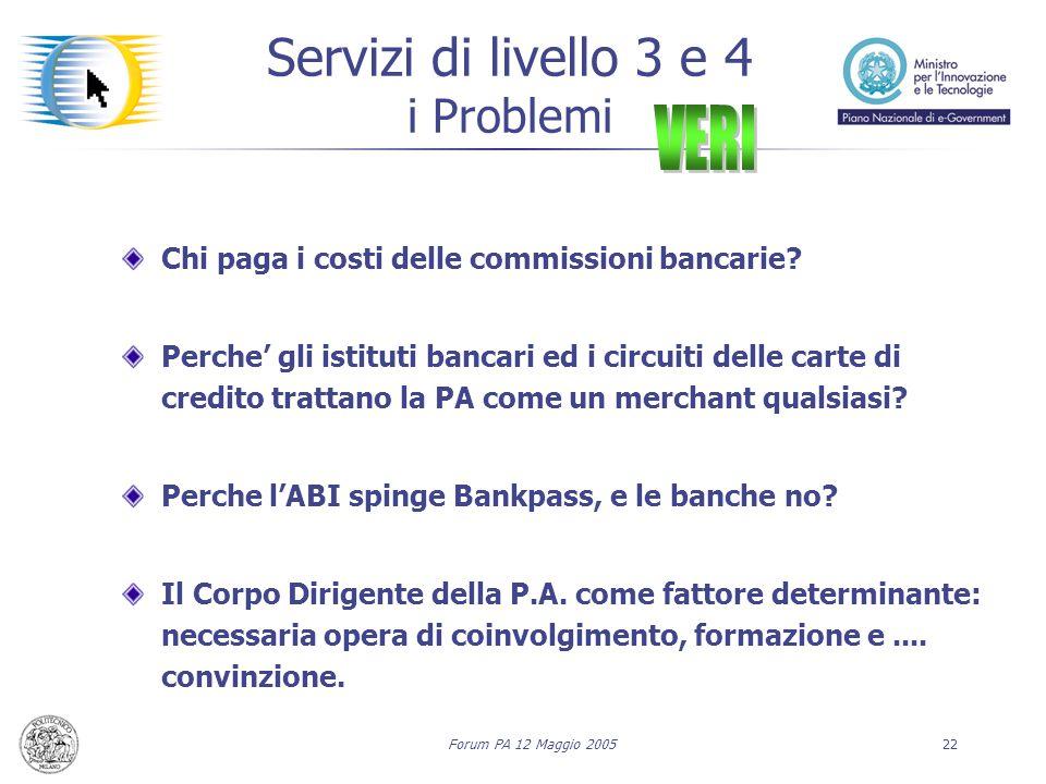 Forum PA 12 Maggio 200522 Servizi di livello 3 e 4 i Problemi Chi paga i costi delle commissioni bancarie? Perche' gli istituti bancari ed i circuiti