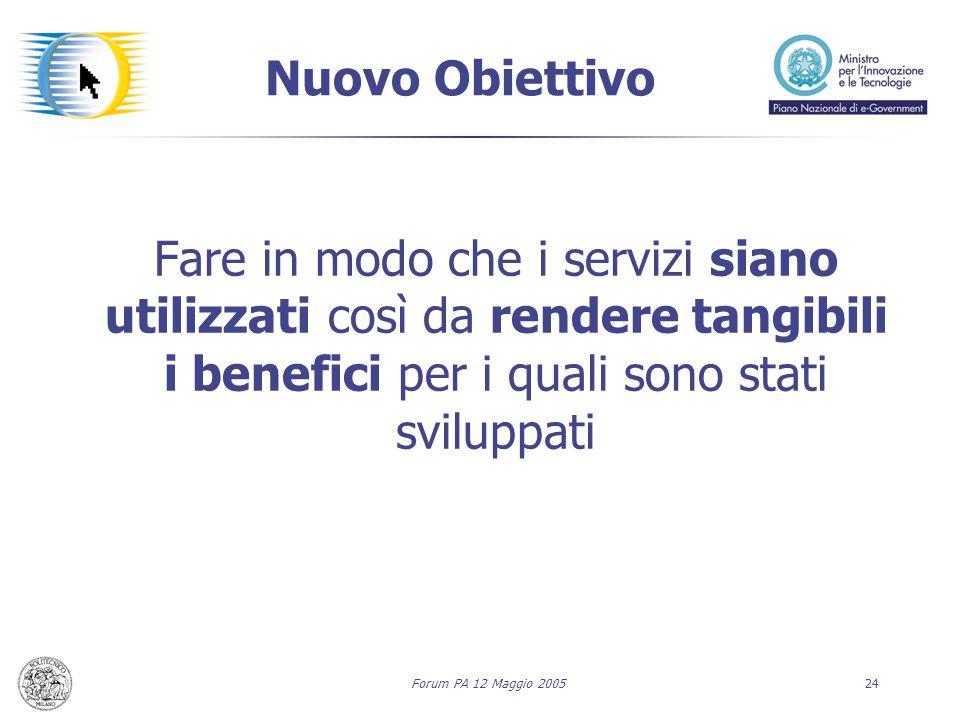 Forum PA 12 Maggio 200524 Nuovo Obiettivo Fare in modo che i servizi siano utilizzati così da rendere tangibili i benefici per i quali sono stati sviluppati
