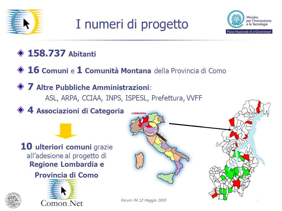 Forum PA 12 Maggio 20054 I numeri di progetto 158.737 Abitanti 16 Comuni e 1 Comunità Montana della Provincia di Como 7 Altre Pubbliche Amministrazion
