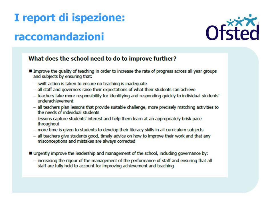 I report di ispezione: raccomandazioni