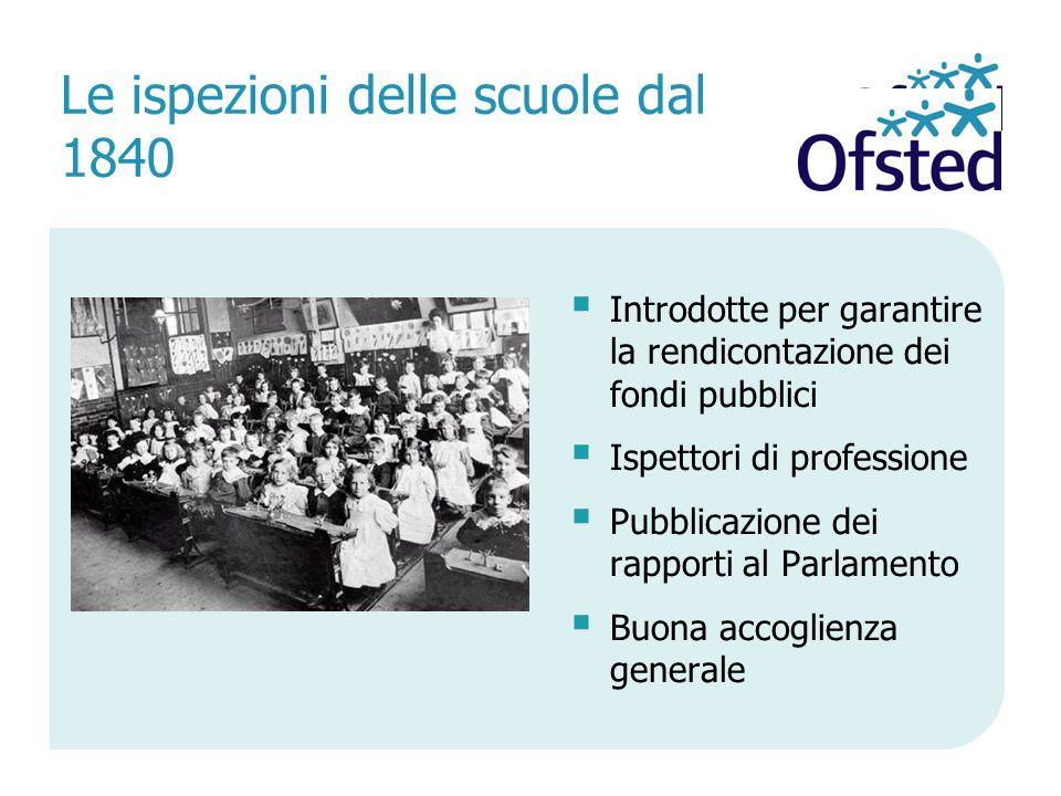  Introdotte per garantire la rendicontazione dei fondi pubblici  Ispettori di professione  Pubblicazione dei rapporti al Parlamento  Buona accoglienza generale Le ispezioni delle scuole dal 1840