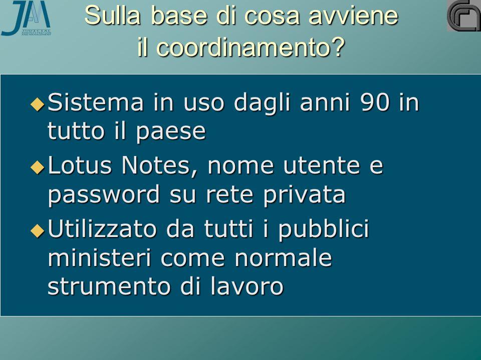  Sistema in uso dagli anni 90 in tutto il paese  Lotus Notes, nome utente e password su rete privata  Utilizzato da tutti i pubblici ministeri come normale strumento di lavoro Sulla base di cosa avviene il coordinamento