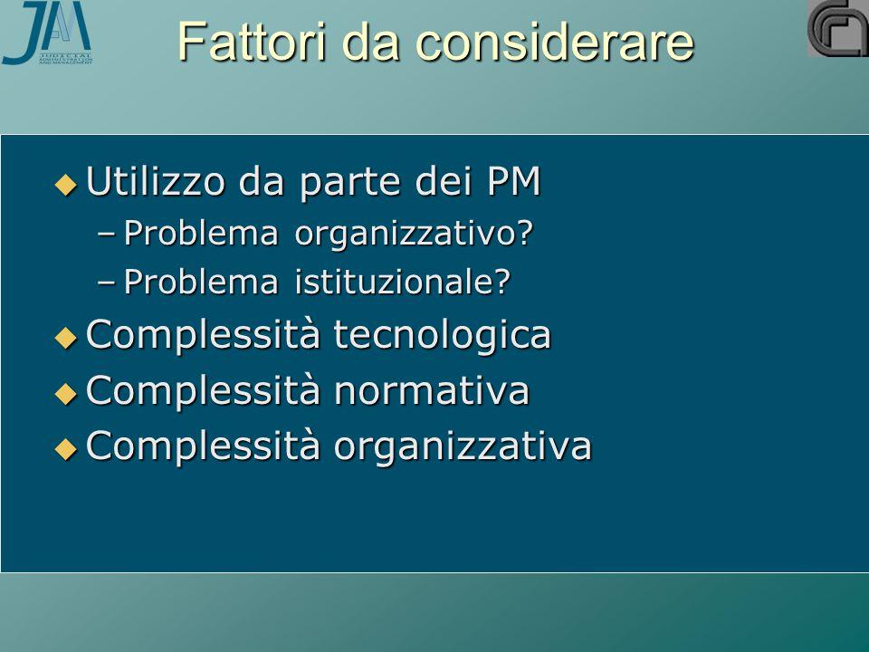 Fattori da considerare  Utilizzo da parte dei PM –Problema organizzativo? –Problema istituzionale?  Complessità tecnologica  Complessità normativa