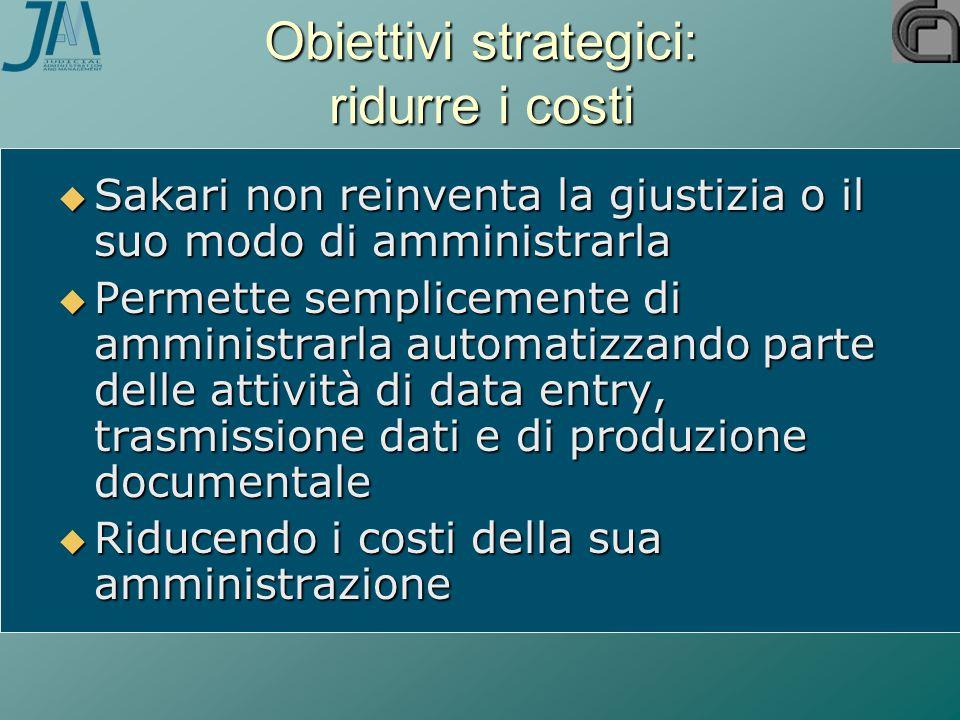 Obiettivi strategici: ridurre i costi  Sakari non reinventa la giustizia o il suo modo di amministrarla  Permette semplicemente di amministrarla aut