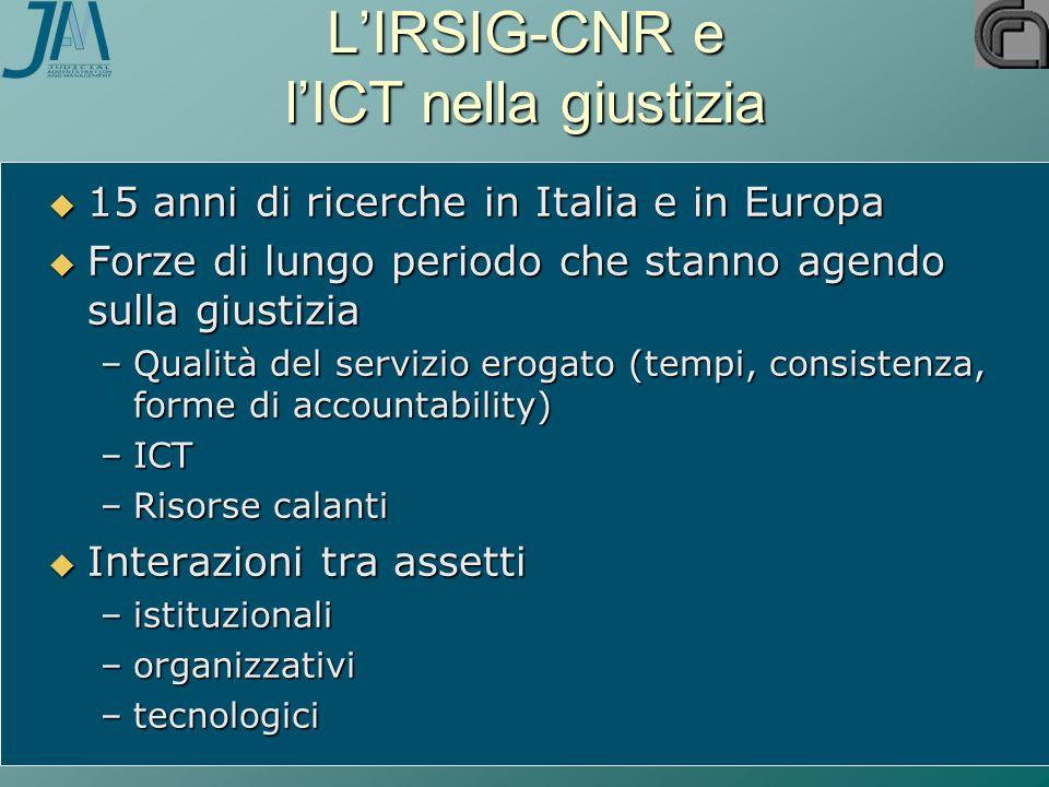 L'IRSIG-CNR e l'ICT nella giustizia  15 anni di ricerche in Italia e in Europa  Forze di lungo periodo che stanno agendo sulla giustizia –Qualità de