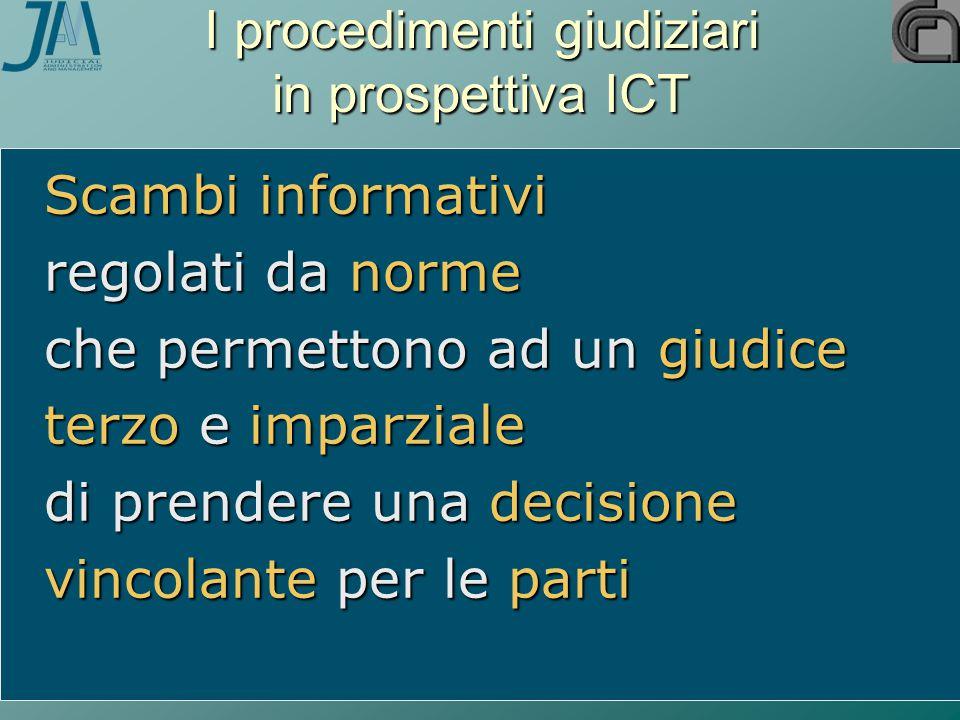 I procedimenti giudiziari in prospettiva ICT Scambi informativi regolati da norme che permettono ad un giudice terzo e imparziale di prendere una decisione vincolante per le parti