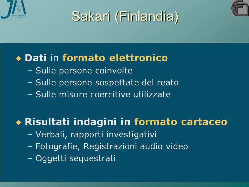 Sakari (Finlandia)   Dati in formato elettronico – –Sulle persone coinvolte – –Sulle persone sospettate del reato – –Sulle misure coercitive utilizz