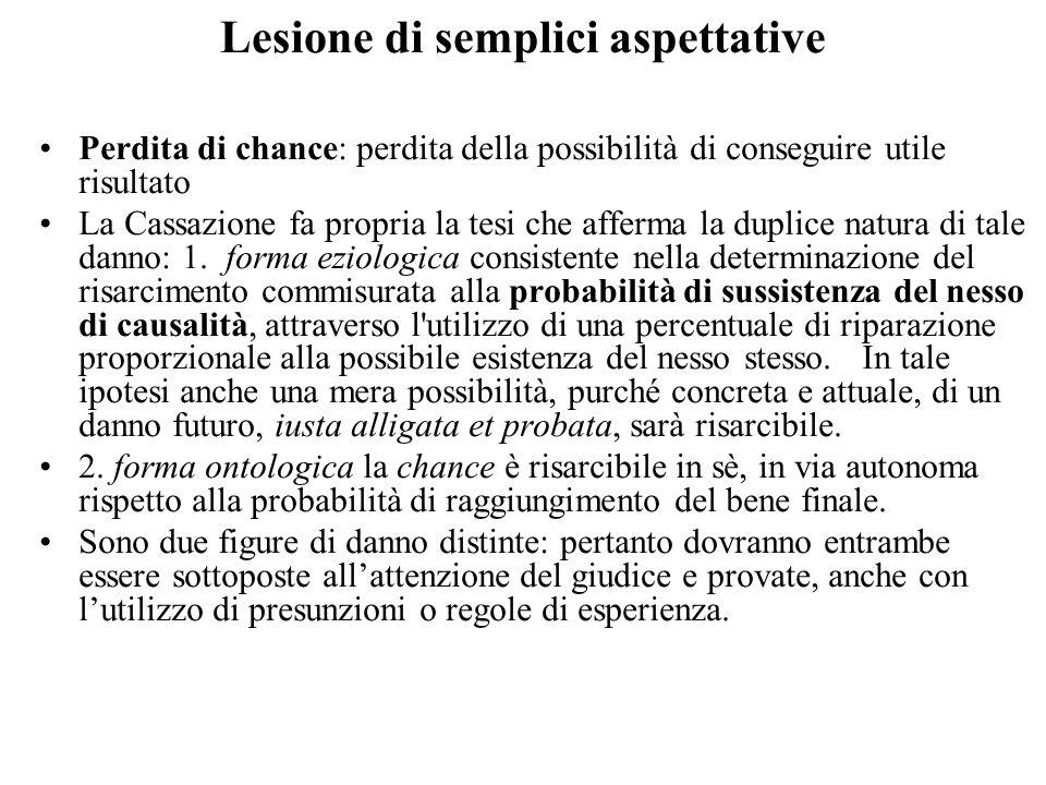 Lesione di semplici aspettative Perdita di chance: perdita della possibilità di conseguire utile risultato La Cassazione fa propria la tesi che afferm