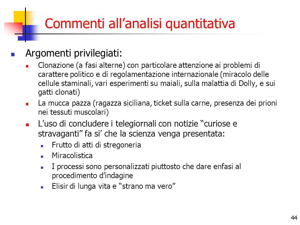44 Commenti all'analisi quantitativa Argomenti privilegiati: Clonazione (a fasi alterne) con particolare attenzione ai problemi di carattere politico