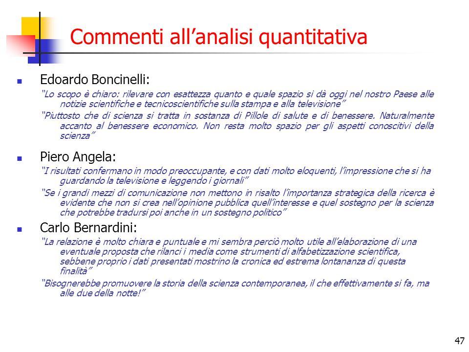 """47 Commenti all'analisi quantitativa Edoardo Boncinelli: """"Lo scopo è chiaro: rilevare con esattezza quanto e quale spazio si dà oggi nel nostro Paese"""