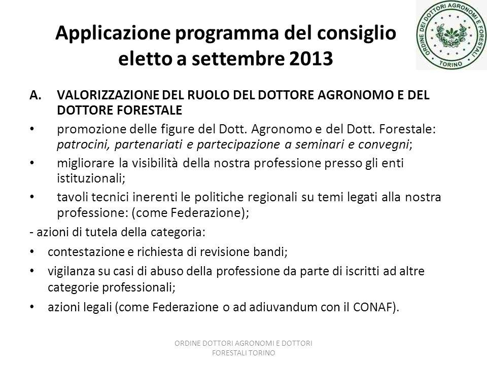 Applicazione programma del consiglio eletto a settembre 2013 A.VALORIZZAZIONE DEL RUOLO DEL DOTTORE AGRONOMO E DEL DOTTORE FORESTALE promozione delle figure del Dott.