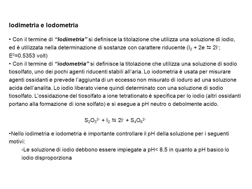 """Iodimetria e Iodometria Con il termine di """"Iodimetria"""" si definisce la titolazione che utilizza una soluzione di iodio, ed è utilizzata nella determin"""