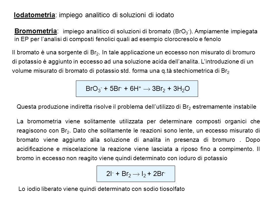 Iodatometria: impiego analitico di soluzioni di iodato Bromometria: impiego analitico di soluzioni di bromato (BrO 3 - ). Ampiamente impiegata in EP p