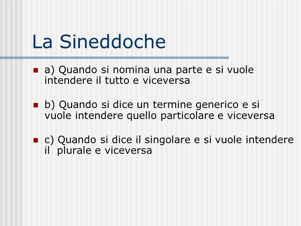 La Sineddoche a) Quando si nomina una parte e si vuole intendere il tutto e viceversa b) Quando si dice un termine generico e si vuole intendere quell