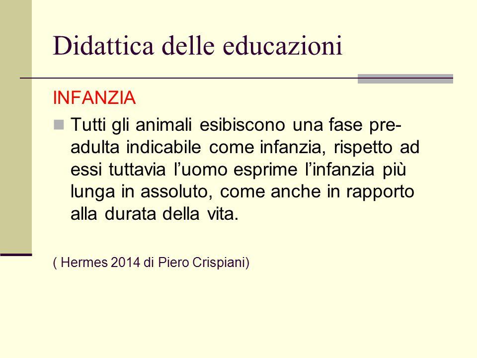 Didattica delle educazioni INFANZIA Tutti gli animali esibiscono una fase pre- adulta indicabile come infanzia, rispetto ad essi tuttavia l'uomo espri