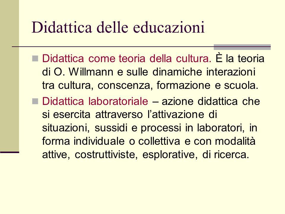 Didattica delle educazioni Didattica come teoria della cultura. È la teoria di O. Willmann e sulle dinamiche interazioni tra cultura, conscenza, forma