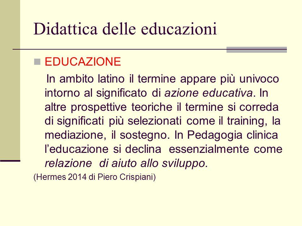 Didattica delle educazioni EDUCAZIONE In ambito latino il termine appare più univoco intorno al significato di azione educativa. In altre prospettive