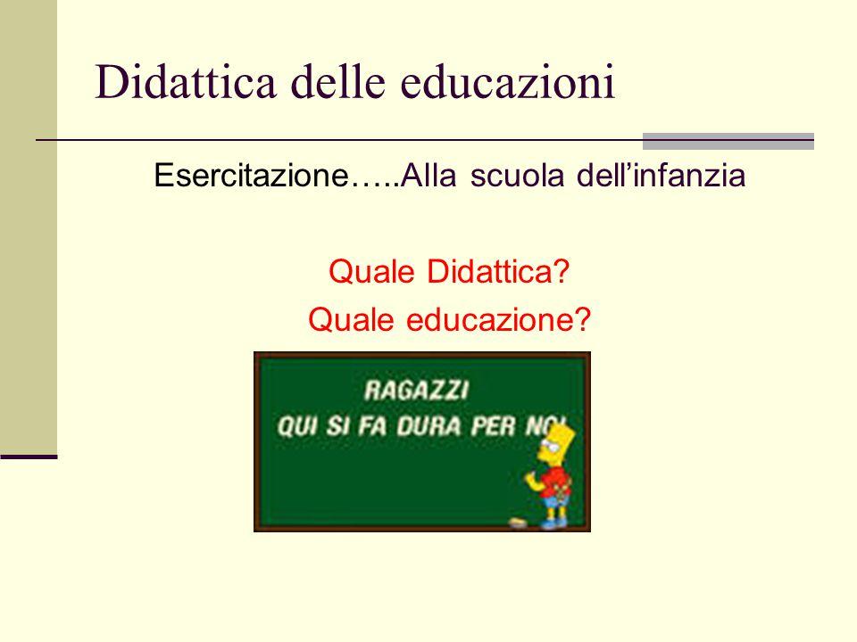 Didattica delle educazioni Esercitazione…..Alla scuola dell'infanzia Quale Didattica? Quale educazione?