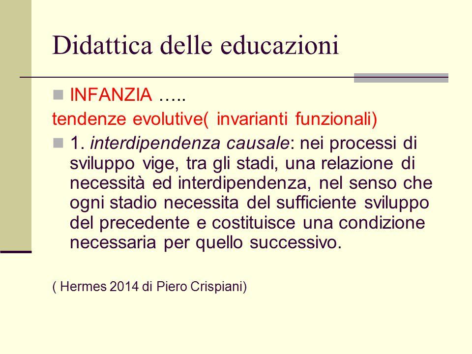 Didattica delle educazioni INFANZIA ….. tendenze evolutive( invarianti funzionali) 1. interdipendenza causale: nei processi di sviluppo vige, tra gli