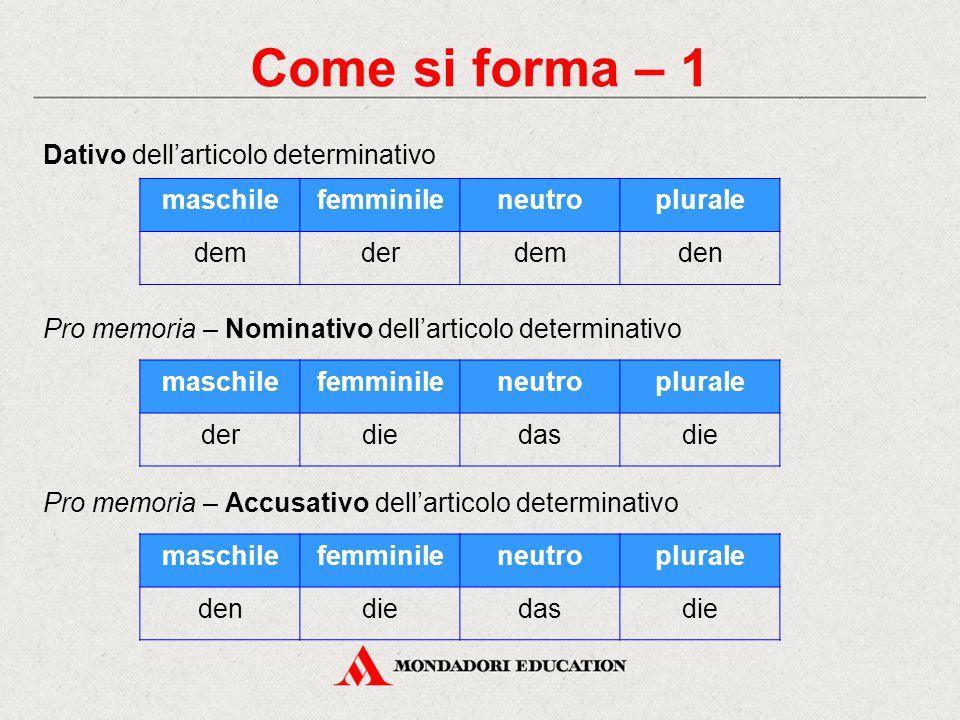 Come si forma – 1 Dativo dell'articolo determinativo Pro memoria – Nominativo dell'articolo determinativo maschilefemminileneutroplurale demderdemden