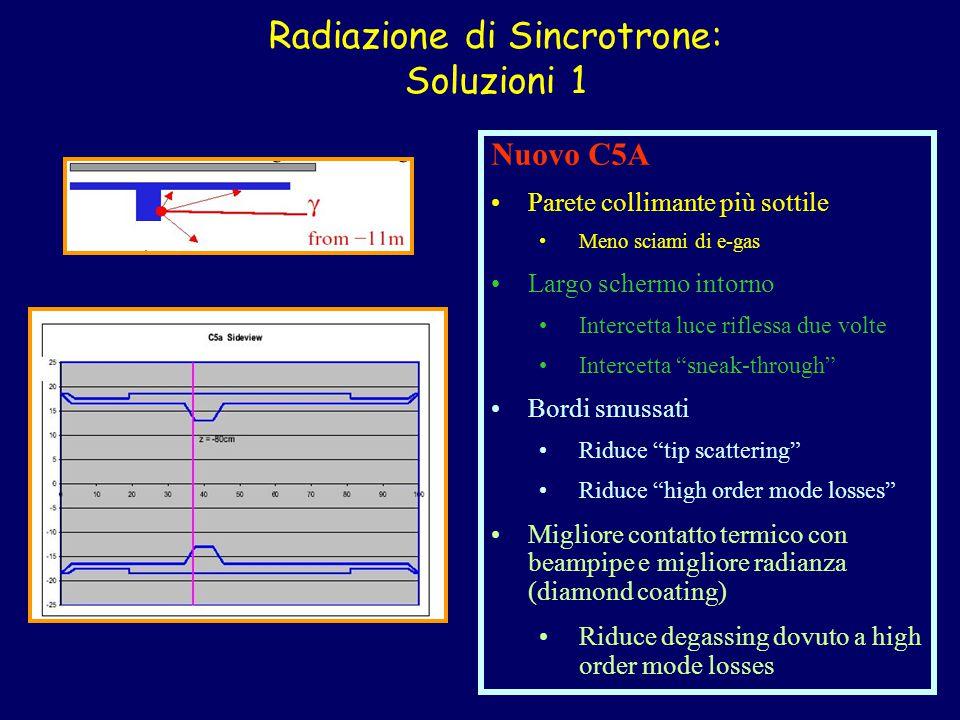 Radiazione di Sincrotrone: Soluzioni 1 Nuovo C5A Parete collimante più sottile Meno sciami di e-gas Largo schermo intorno Intercetta luce riflessa due