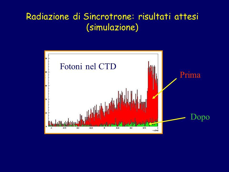 Radiazione di Sincrotrone: risultati attesi (simulazione) Prima Dopo Fotoni nel CTD