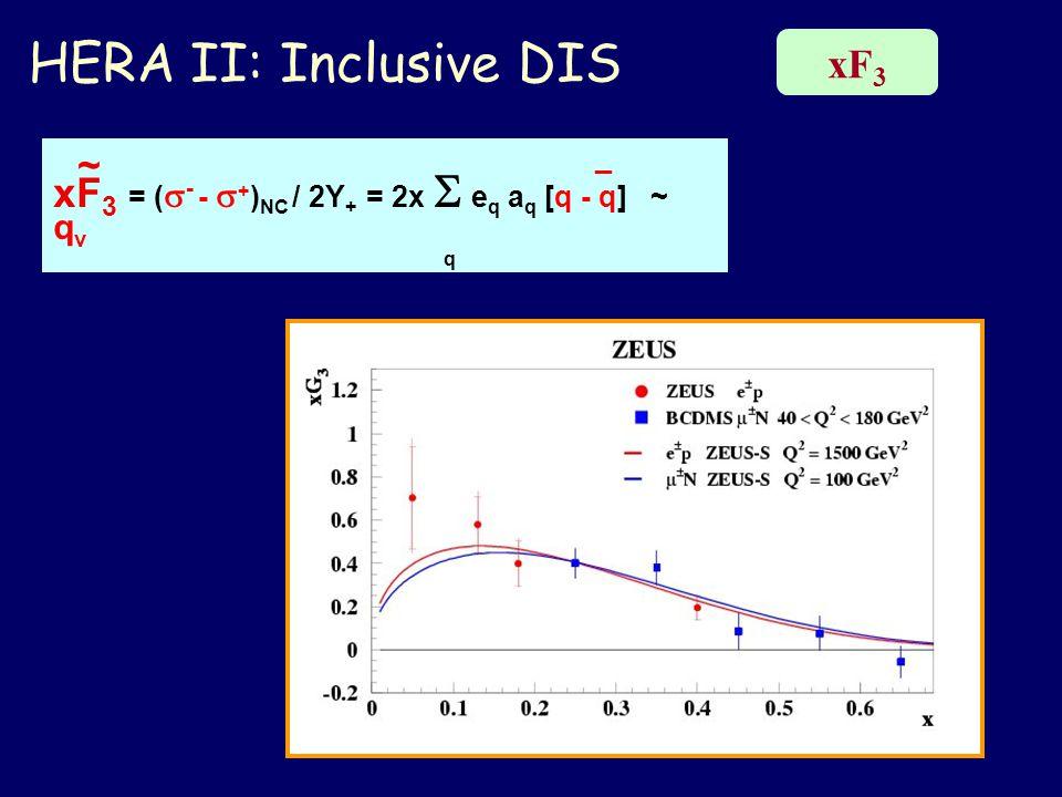 HERA II: Inclusive DIS xF 3 ~ _ xF 3 = (  - -  + ) NC / 2Y + = 2x  e q a q [q - q] ~ q v q