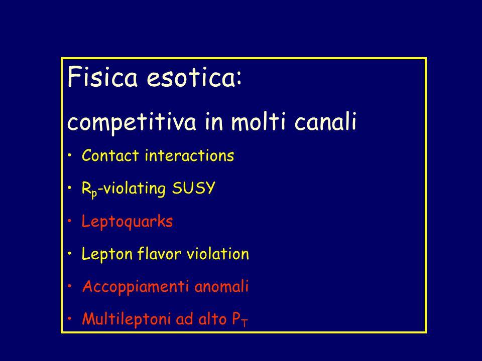 Fisica esotica: competitiva in molti canali Contact interactions R p -violating SUSY Leptoquarks Lepton flavor violation Accoppiamenti anomali Multileptoni ad alto P T