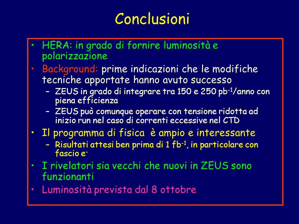 Conclusioni HERA: in grado di fornire luminosità e polarizzazione Background: prime indicazioni che le modifiche tecniche apportate hanno avuto succes