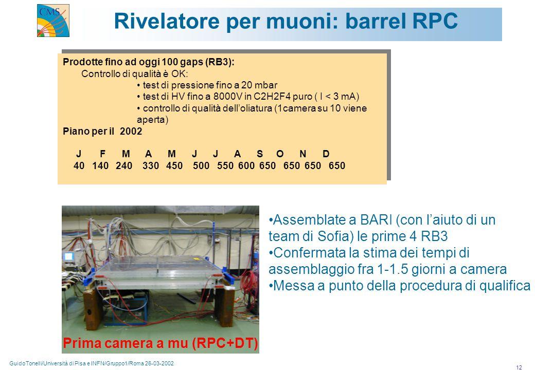 GuidoTonelli/Università di Pisa e INFN/Gruppo1/Roma 26-03-2002 12 Rivelatore per muoni: barrel RPC Prima camera a mu (RPC+DT) Prodotte fino ad oggi 100 gaps (RB3): Controllo di qualità è OK: test di pressione fino a 20 mbar test di HV fino a 8000V in C2H2F4 puro ( I < 3 mA) controllo di qualità dell'oliatura (1camera su 10 viene aperta) Piano per il 2002 J F M A M J J A S O N D 40 140 240 330 450 500 550 600 650 650 650 650 Prodotte fino ad oggi 100 gaps (RB3): Controllo di qualità è OK: test di pressione fino a 20 mbar test di HV fino a 8000V in C2H2F4 puro ( I < 3 mA) controllo di qualità dell'oliatura (1camera su 10 viene aperta) Piano per il 2002 J F M A M J J A S O N D 40 140 240 330 450 500 550 600 650 650 650 650 Assemblate a BARI (con l'aiuto di un team di Sofia) le prime 4 RB3 Confermata la stima dei tempi di assemblaggio fra 1-1.5 giorni a camera Messa a punto della procedura di qualifica