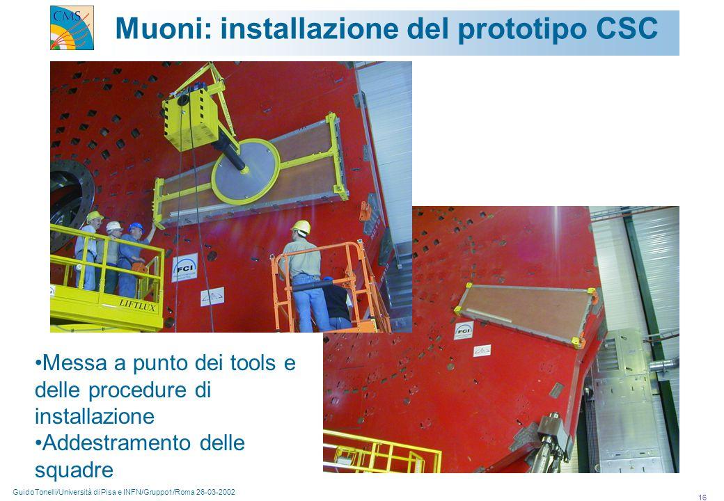 GuidoTonelli/Università di Pisa e INFN/Gruppo1/Roma 26-03-2002 16 Muoni: installazione del prototipo CSC Messa a punto dei tools e delle procedure di installazione Addestramento delle squadre