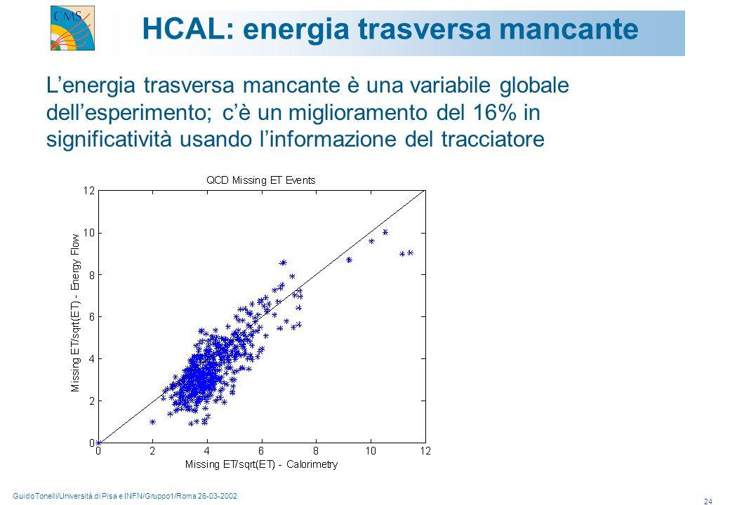 GuidoTonelli/Università di Pisa e INFN/Gruppo1/Roma 26-03-2002 24 HCAL: energia trasversa mancante L'energia trasversa mancante è una variabile globale dell'esperimento; c'è un miglioramento del 16% in significatività usando l'informazione del tracciatore