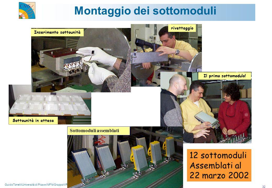 GuidoTonelli/Università di Pisa e INFN/Gruppo1/Roma 26-03-2002 32 Montaggio dei sottomoduli Sottounità in attesa Il primo sottomodulo.
