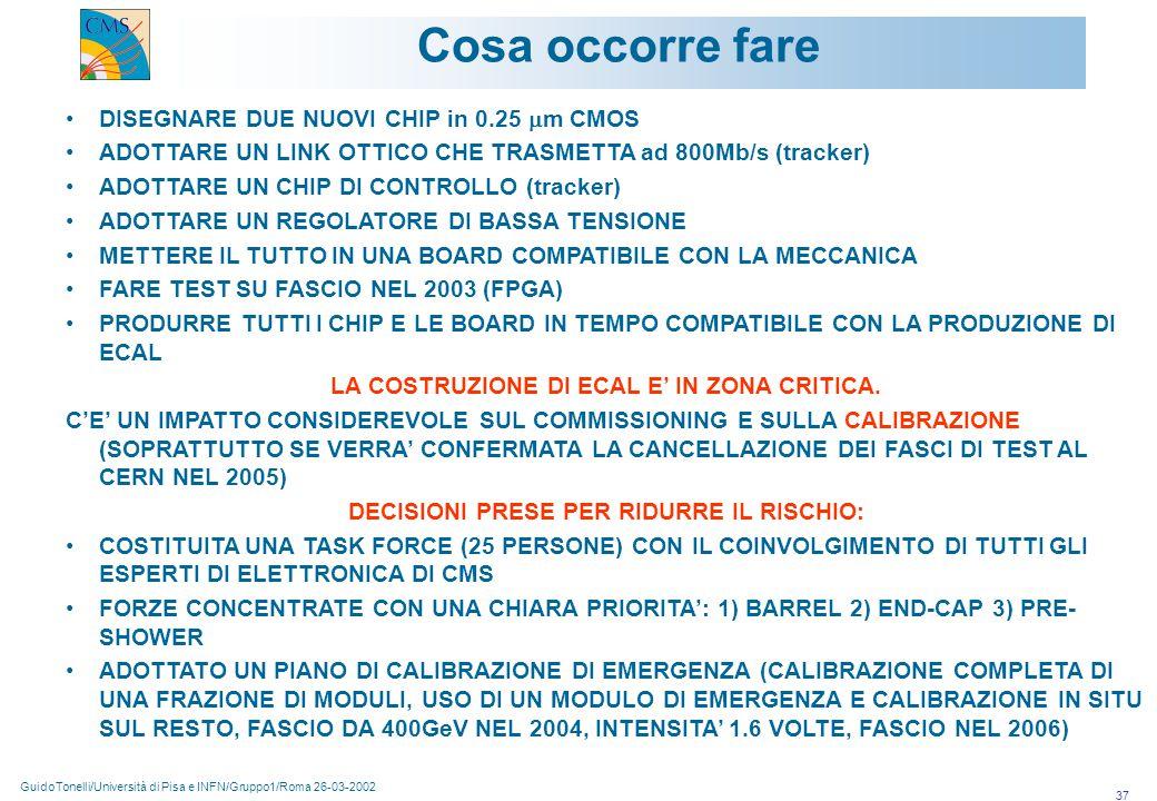 GuidoTonelli/Università di Pisa e INFN/Gruppo1/Roma 26-03-2002 37 Cosa occorre fare DISEGNARE DUE NUOVI CHIP in 0.25  m CMOS ADOTTARE UN LINK OTTICO CHE TRASMETTA ad 800Mb/s (tracker) ADOTTARE UN CHIP DI CONTROLLO (tracker) ADOTTARE UN REGOLATORE DI BASSA TENSIONE METTERE IL TUTTO IN UNA BOARD COMPATIBILE CON LA MECCANICA FARE TEST SU FASCIO NEL 2003 (FPGA) PRODURRE TUTTI I CHIP E LE BOARD IN TEMPO COMPATIBILE CON LA PRODUZIONE DI ECAL LA COSTRUZIONE DI ECAL E' IN ZONA CRITICA.